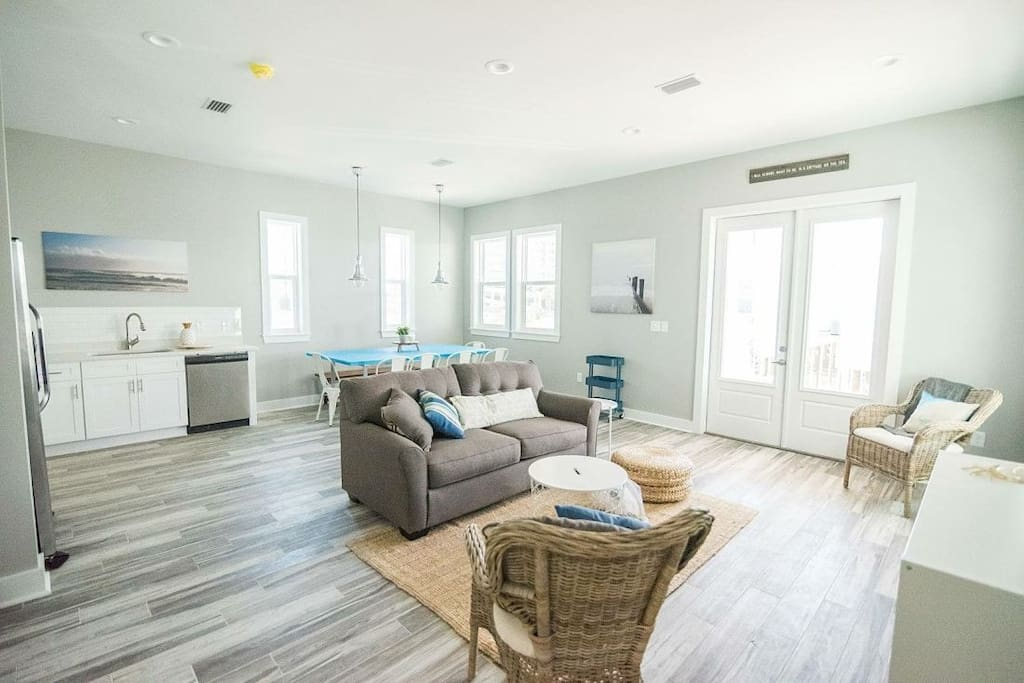 East Point Cottages offer modern open floor plan living area in Gulf Shores, Alabama.