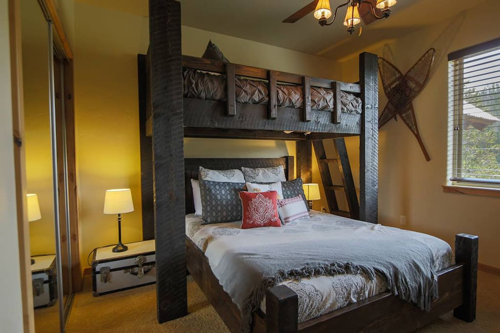 Second bedroom with Queen bed topped with XL Twin