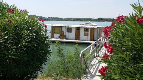 Houseboat in Provence, on the river Rhône...