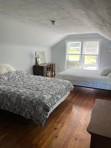 Bedroom #1 has 2 queen beds, AC, makeup dresser and 2 dressers for your items or use as a suitcase stand.