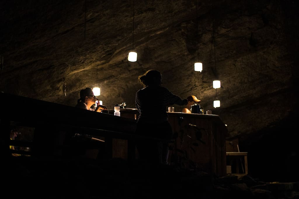 Enjoy company in the well lit cave nights