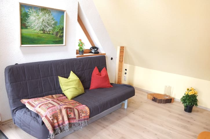Wohnzimmer mit Schlafcouch - Living Room with sleeping couch