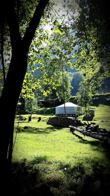 A view of the yurt from the river bank.