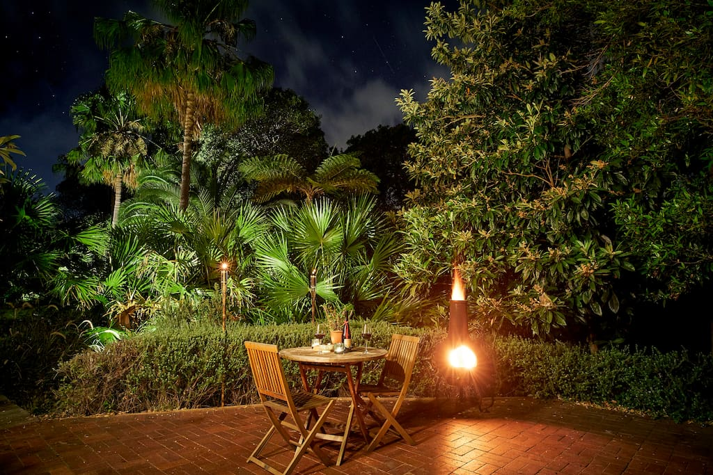 Private rear courtyard at night