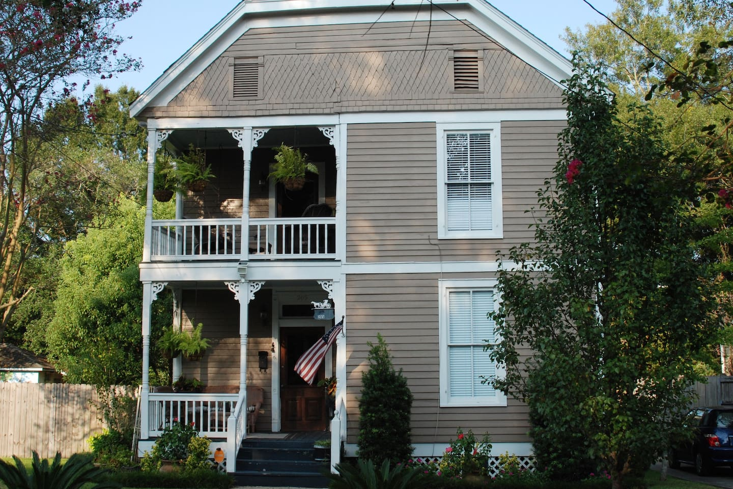 Front of our beautiful historic home.  Two   private rooms on bottom floor with shared areas.  You can have as much privacy as you'd like to have to have or enjoy the socialization that comes from the hospitality of the south.