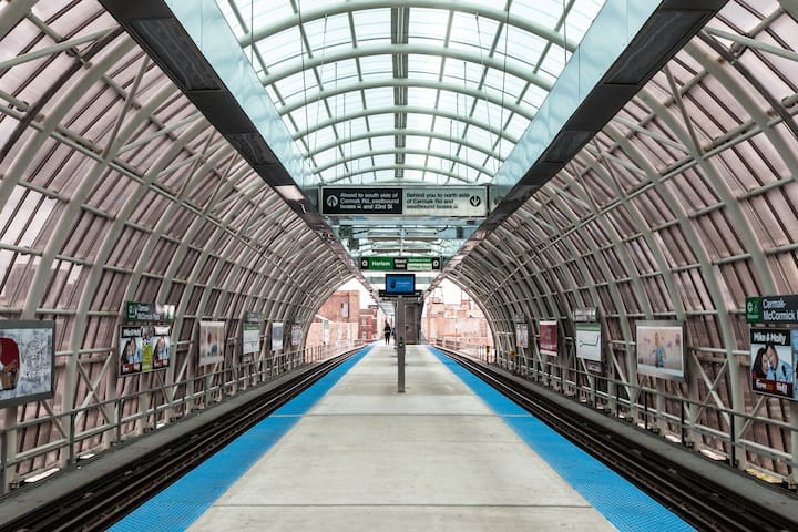 The McCormick Green Line Subway stop is only 3 minute walk away!