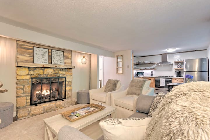 The beautiful gas fireplace turns on and off with the click of a button! It even has an easy, worry-free timer.