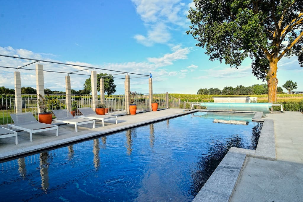 Saltwater lap pool with vineyard and Cape views
