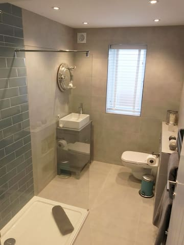 The bathroom is positioned next to the twin room. With a walk in shower, basin and toilet. We have a variety of branded toiletries which are provided.