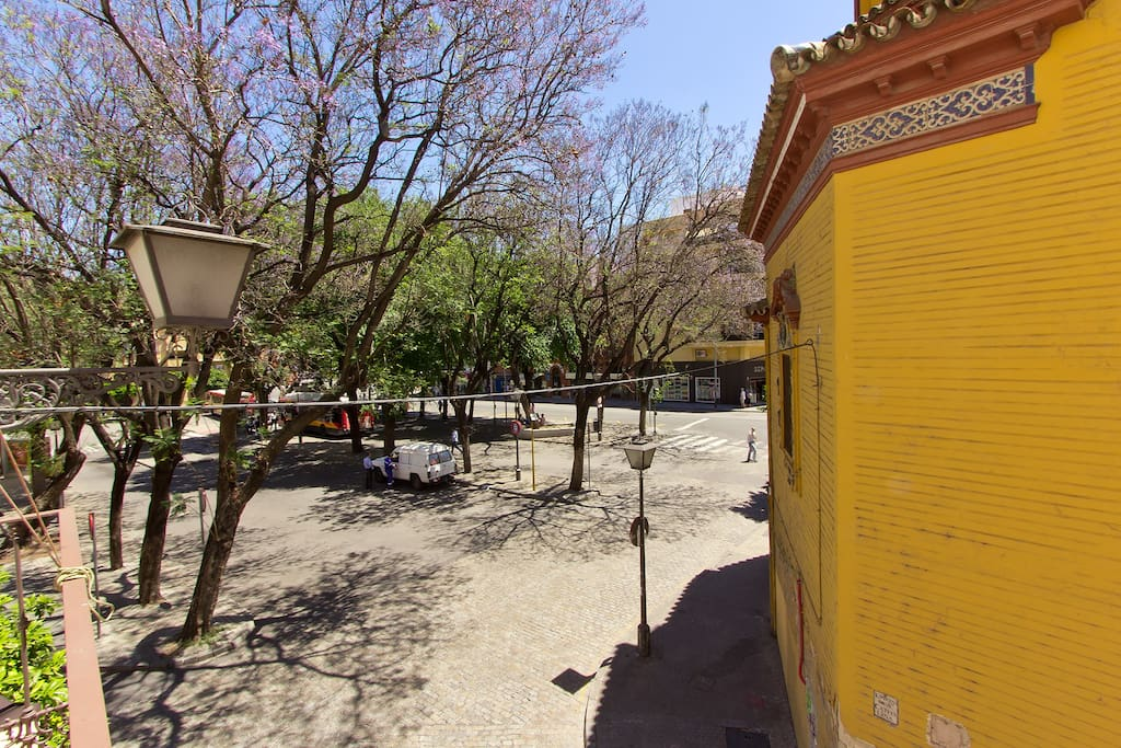 View of Plaza Ponce de Leon from the living area.