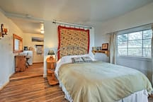 A plush full-sized bed highlights the living space.