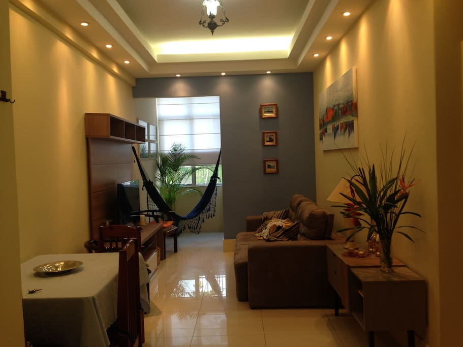 Living room with new sofa-bed, table, 4 chairs, CableTV, WiFi, air conditioner