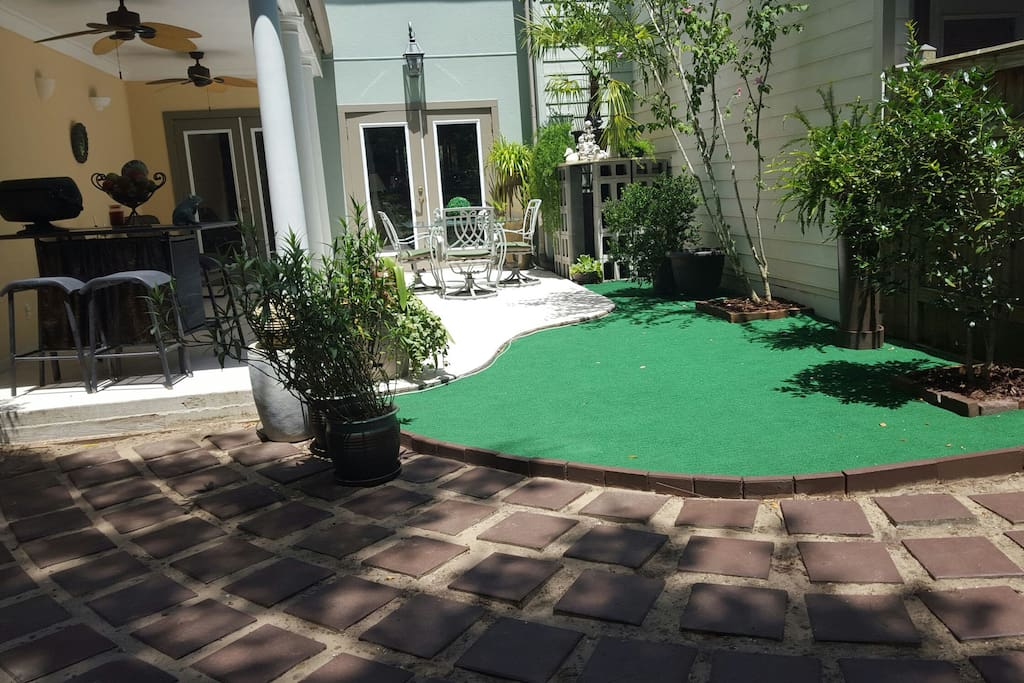 Back garden area and grill