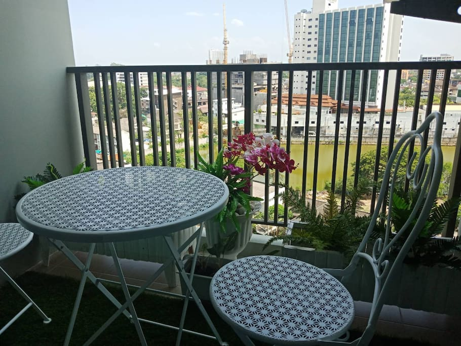 Balcony in the room with City view of Chiang mai City.