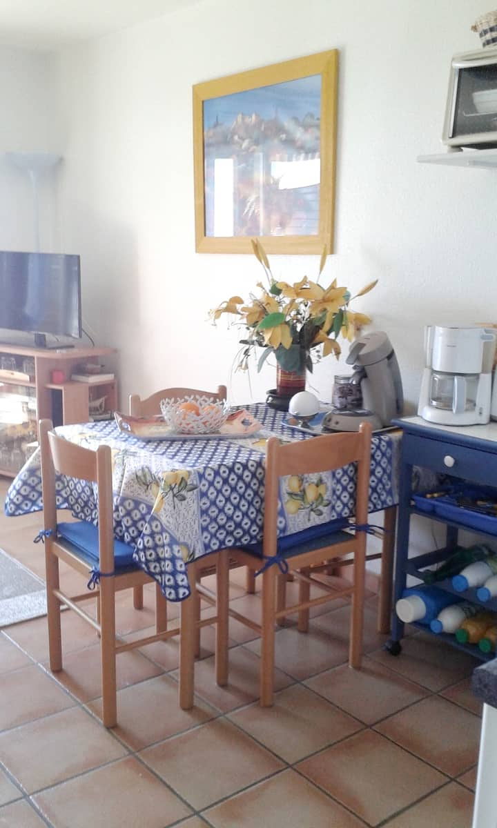 Apartment with one bedroom in Saint-Cyprien, with wonderful sea view, shared pool and enclosed garden - 80 m from the beach