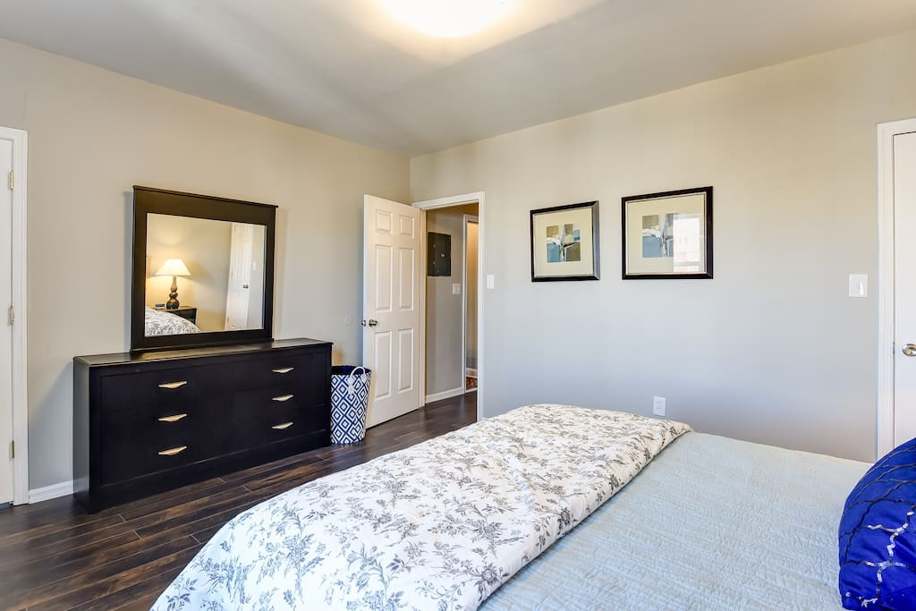 Master bedroom with two closets for guests with longer stays or many wardrobe options!