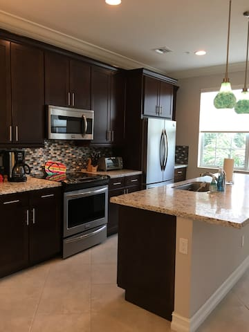 Large kitchen with coffee maker