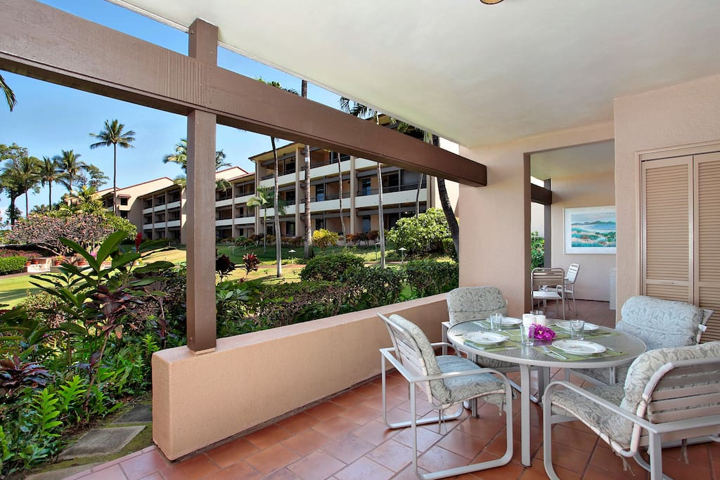 Outdoor lanai area with easy access to the pool
