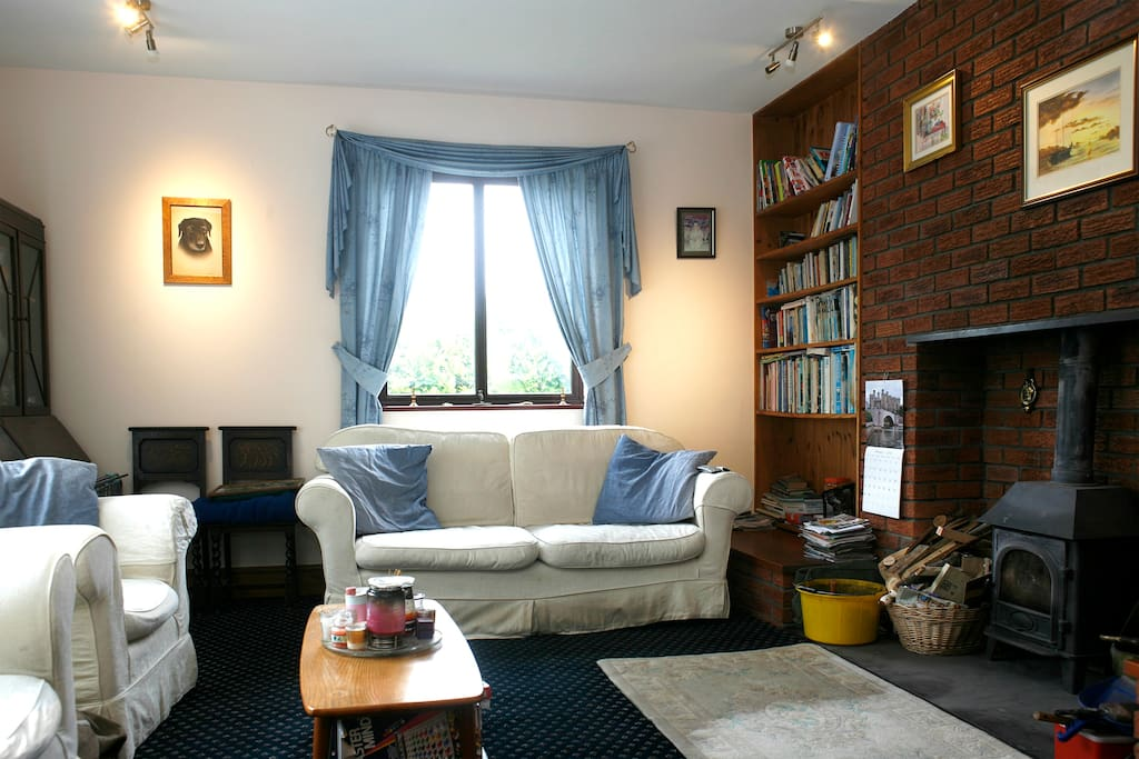 Large living room with real coal fire and lots of books and bard games for you to enjoy