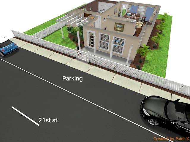 Here's your parking situation, right in front! (Drawing and dimensions are only approximate but very close to reality, meant to be used as an overview for your information only!)