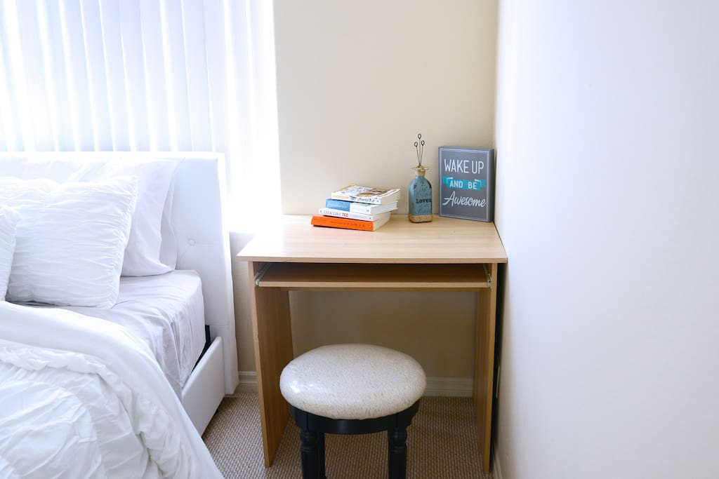 Enjoy comfortable work space if you need to get some work or studying done