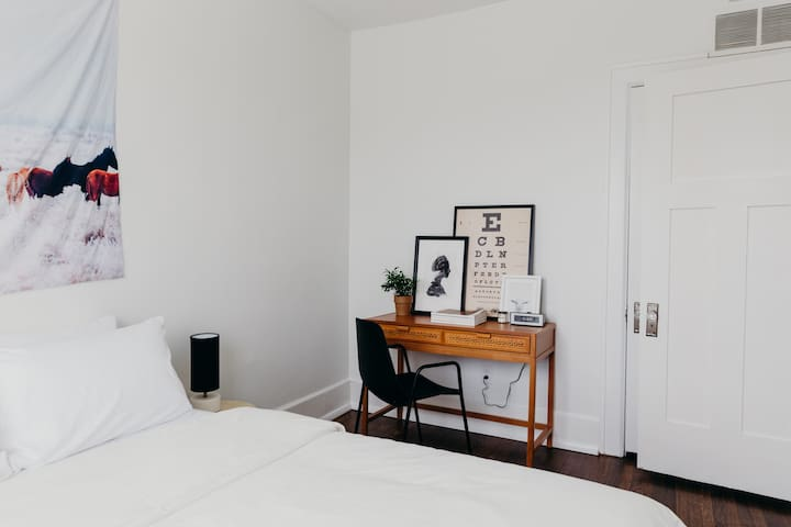 The perfectly appointed master bedroom, with full-size closet and built-in dresser.