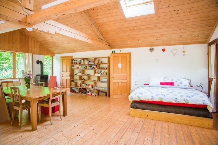 Chambres d'hôtes - Eco-chalet Bel Oiseau, (St-Ursanne), La Suite, 1-5 pers., 1 room