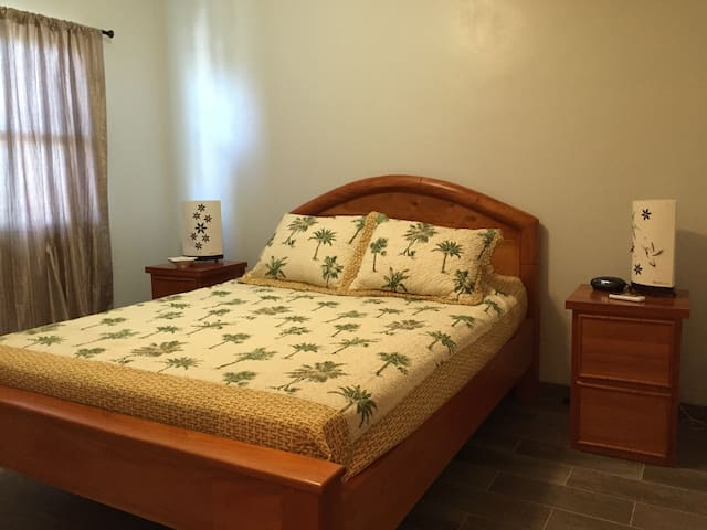 Queen size bed with A/C and fat screen TV