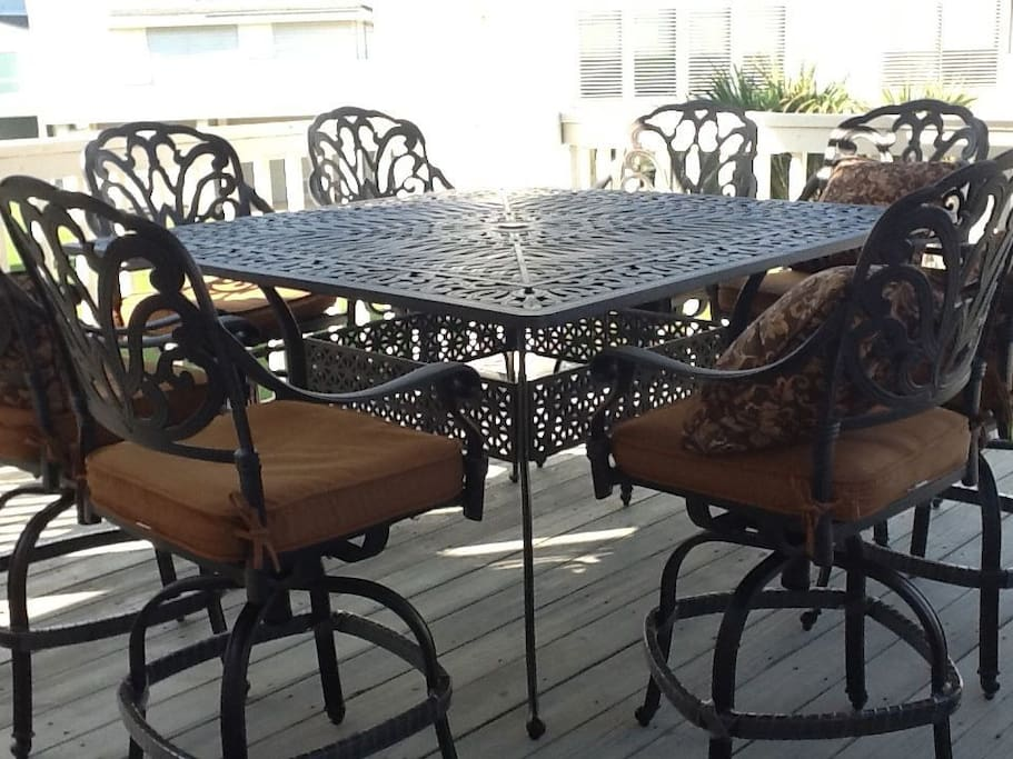 Back deck high table and chairs