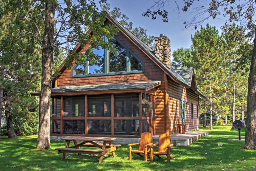 Lakefront 3br nisswa cabin w fireplace cabins for rent for Cabins for rent in minnesota