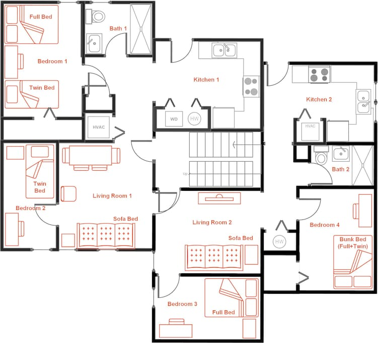 Suite layout with 4 bedrooms, 2 baths, 2 kitchens, 2 living rooms with TVs. This suite has a total of 8 beds and can accomodate 11+ guests.
