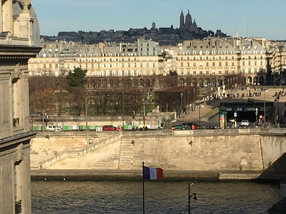 River Seine and Right Bank View with Jardin des Tuileries, rue de Rivoli and Sacré Coeur