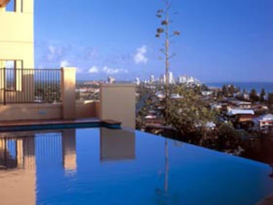 Infinity pool overlooking Gold coast city