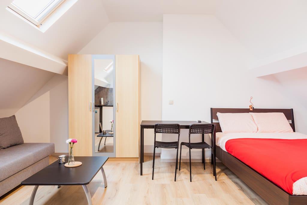 lumineux studio avec cuisine quip e appartements louer schaerbeek bruxelles belgique. Black Bedroom Furniture Sets. Home Design Ideas