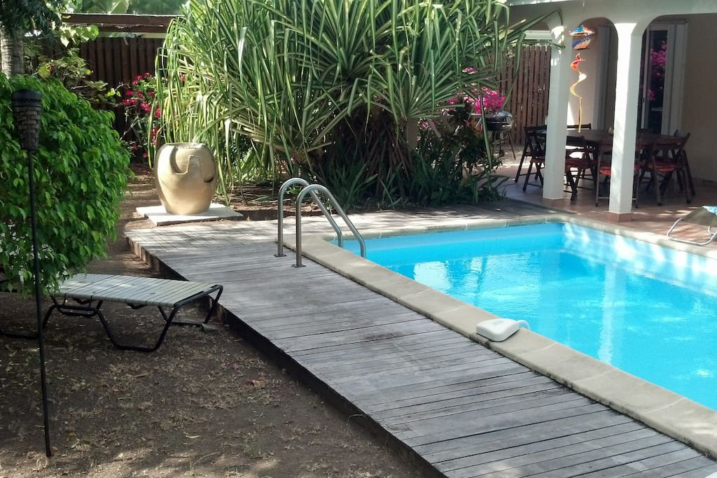 PRIVATE POOL AND DECK/PORCH AREA.