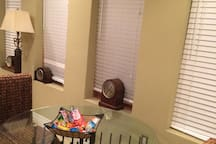 Dining Area with blinds closed and snacks