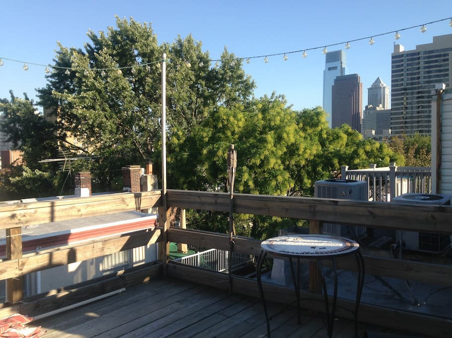 Private rooftop patio with fantastic views of the city. Enjoy a beverage or dinner.