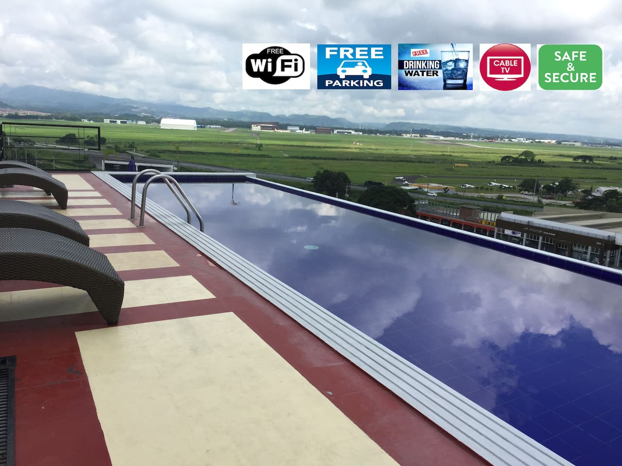 Relaxing roof deck infinity pool with great sunset views