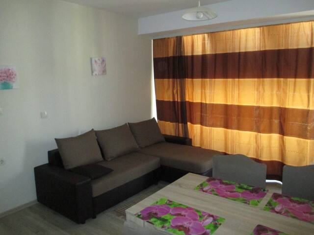 Sitting room with foldout sofa and kitchen corner, climate control. Зал с раскладывающимся угловым диваном и кухонным уголком. Кондиционер.