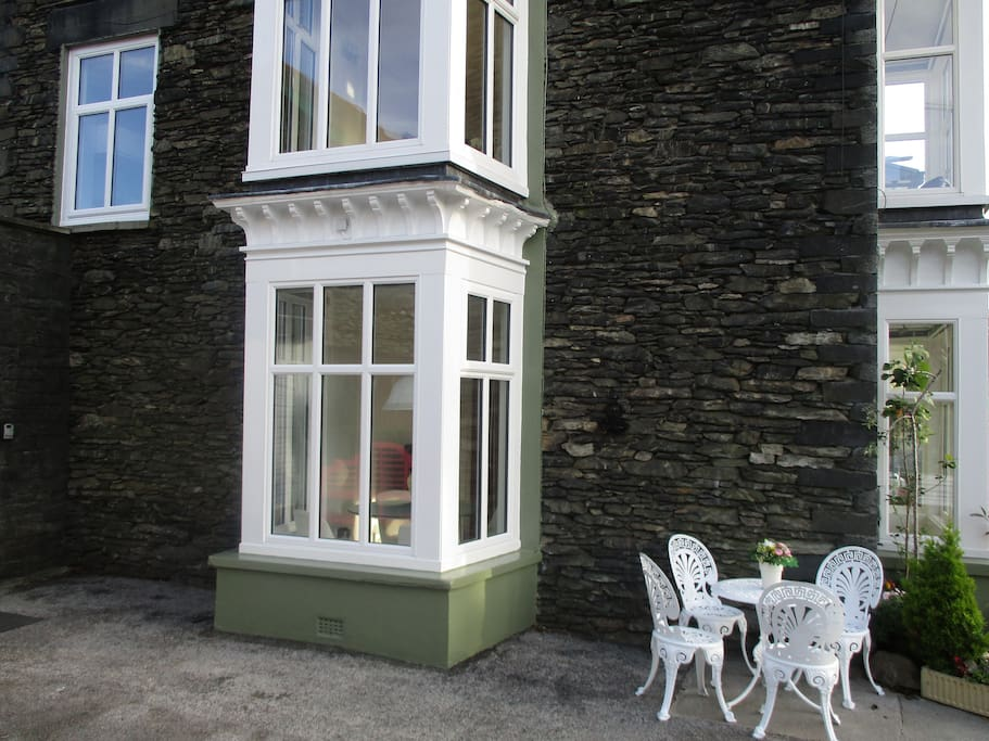 Side exterior bay windows to Lakeland House by Lake Windermere.