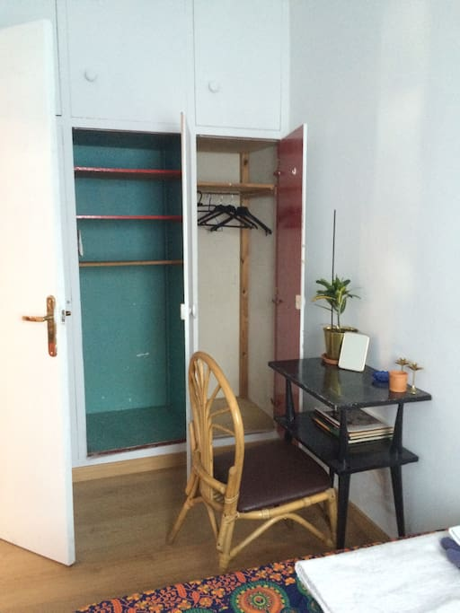 Available space in the closet (room)