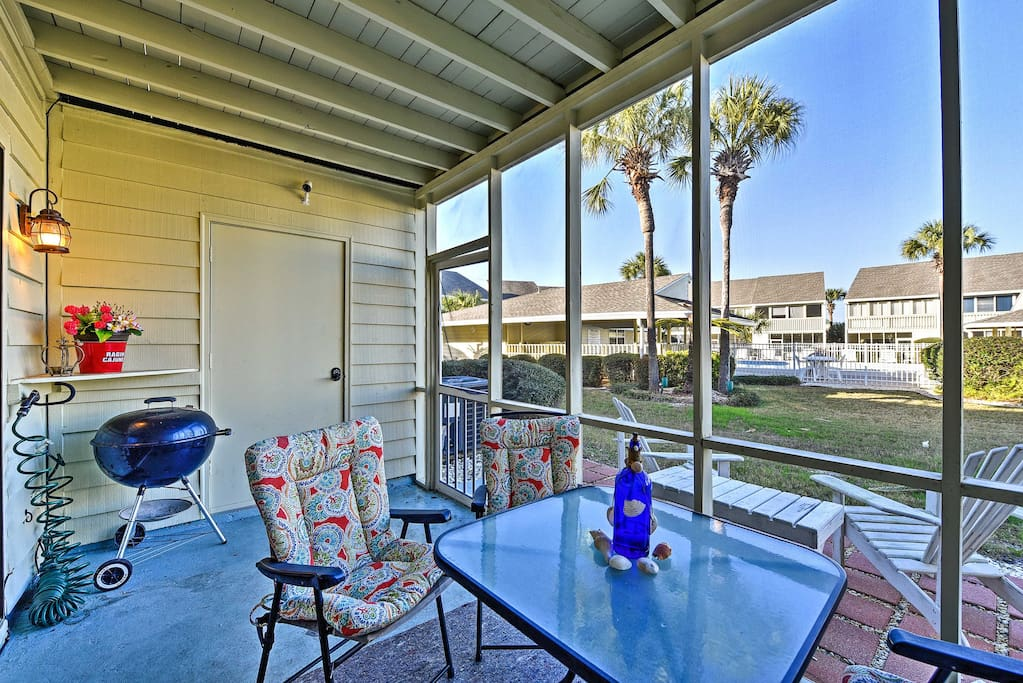Take in the cool ocean breeze from the private patio.