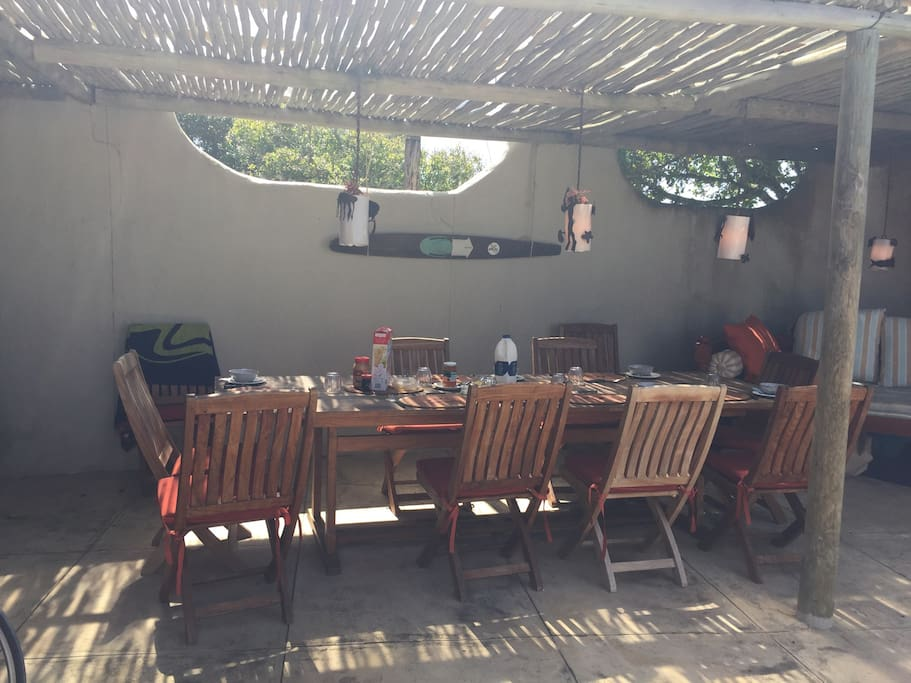 Outside covered patio for lazy lunches
