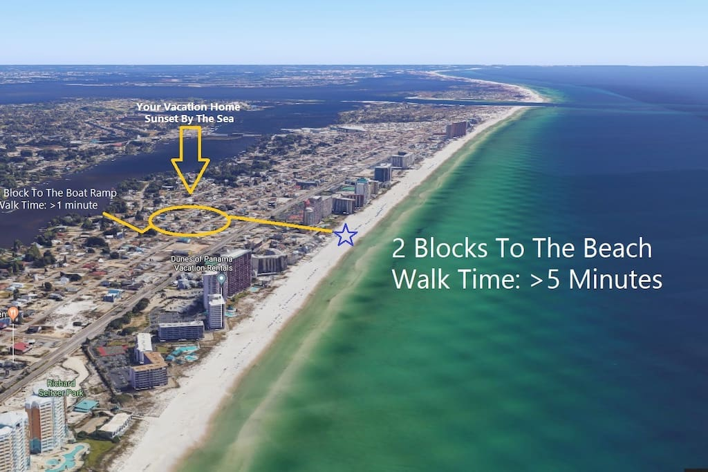This home has water on both sides. Walk >5 minutes directly to the beach or down the street to the boat ramp