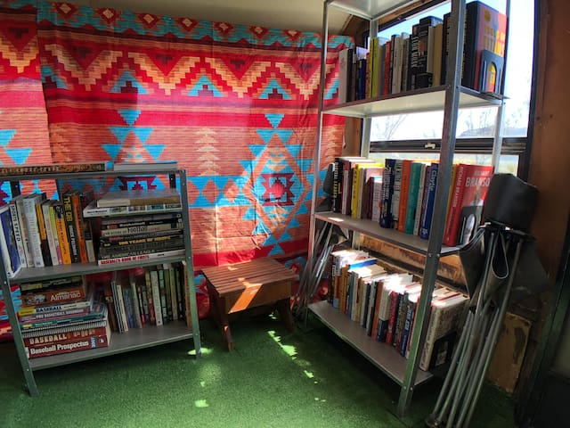 We've got a pretty extensive selection of books for you to borrow during your stay. They are all located in the Lajitas Library trailer at the front left of the property which is an open community area.