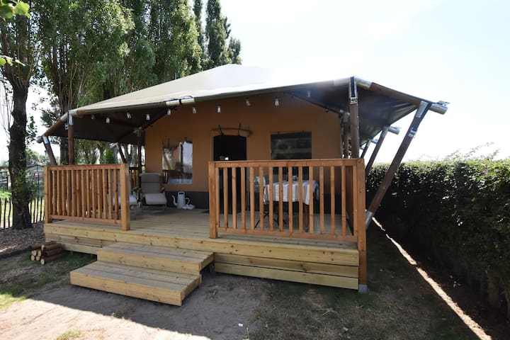 Comfortable Tent Lodge in Pittem with Barbecue and Veranda