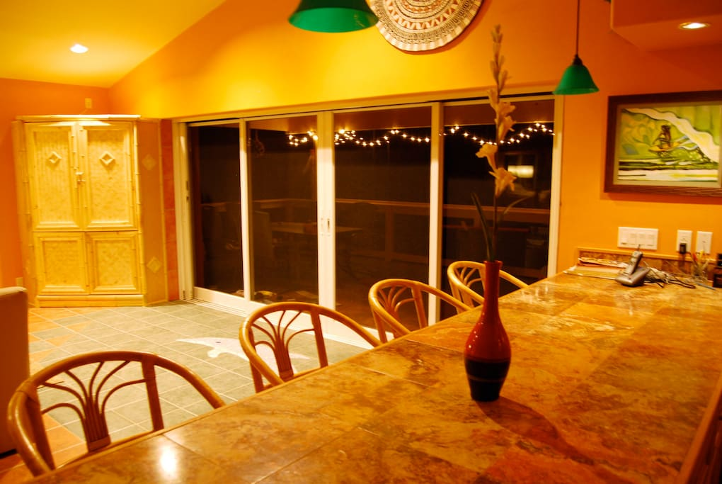 The Great Room is adjacent to the kitchen and 14' pocket doors to the lanai