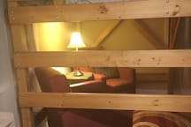 Here's the ladder you'll need to climb into the loft bed:  watch your head!
