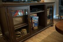 Maps, books, games, DVD player, and more!
