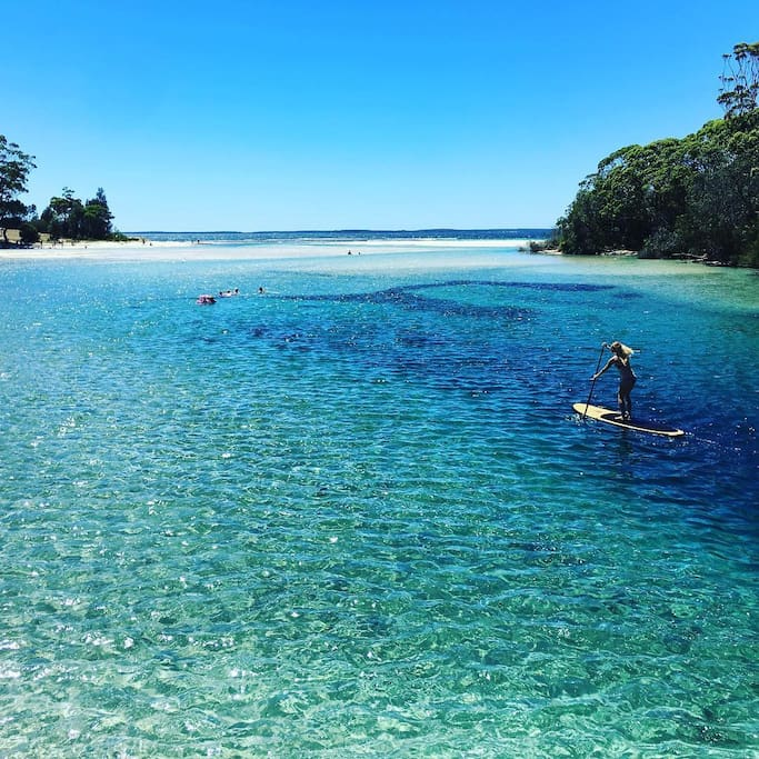 Walk to Moona Moona Creek in Huskisson for 5 star lagoon swimming. Crystal clear, calm water. Jervis Bay is perfect for Standup Paddle and you can hire locally.